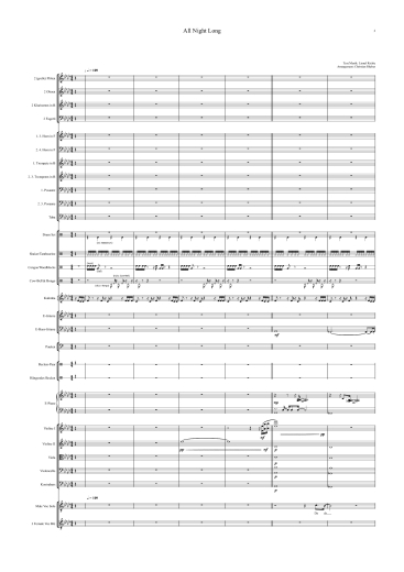 Noten für Orchester - Lionel Richie - All Night Long - Orchester Partitur - Orchesternoten