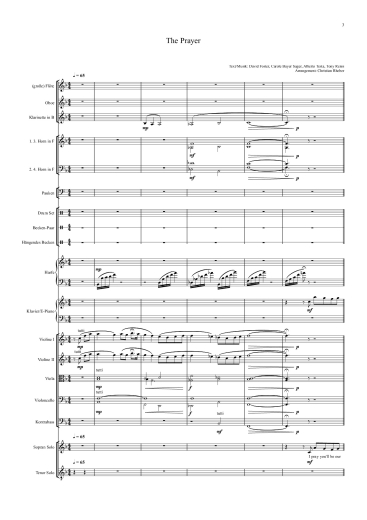 Noten für Orchester - Celine Dion - The Prayer - Orchester Partitur - Orchesternoten